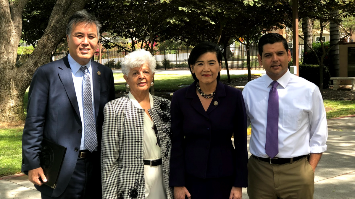 Members Visiting Unaccompanied Immigrant Children at LA County Facility. Pictured from Left to Right: Reps. Mark Takano, Grace F. Napolitano, Judy Chu, and Raul Ruiz