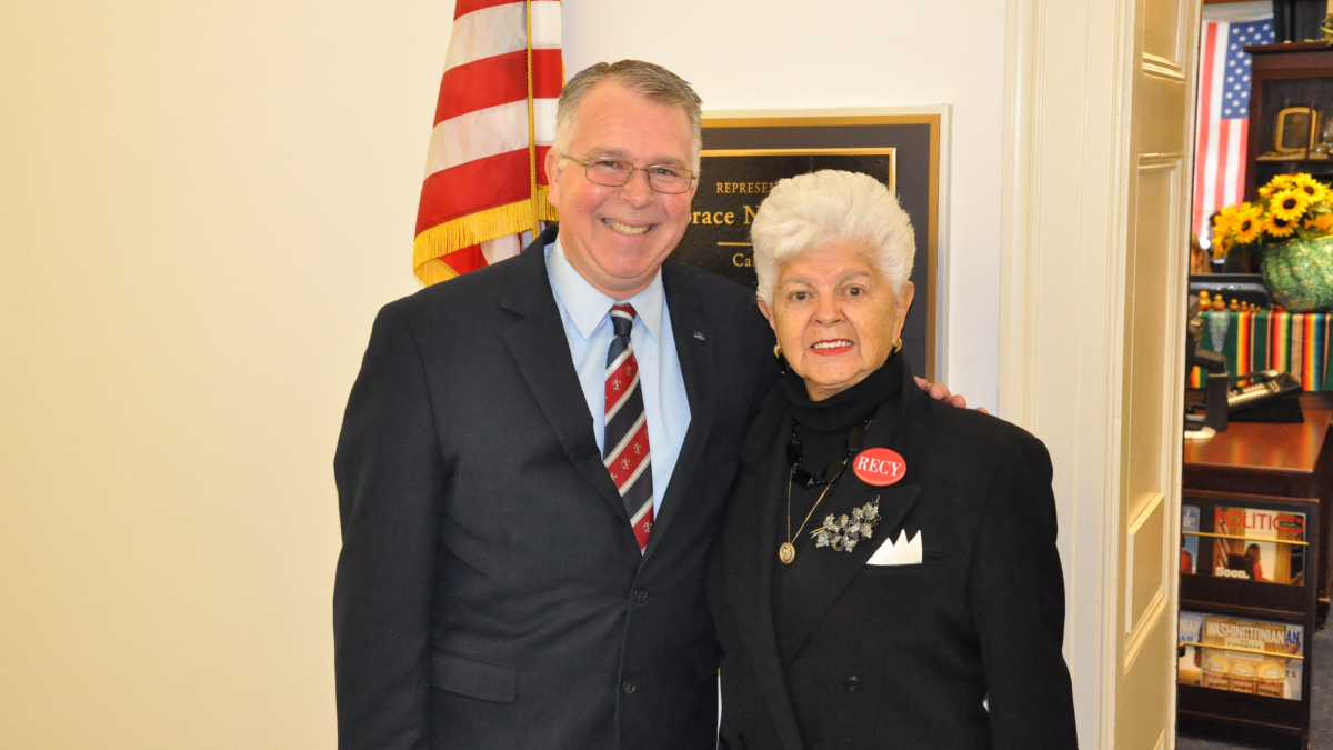 Rep. Napolitano with her State of the Union guest, Doran Barnes.