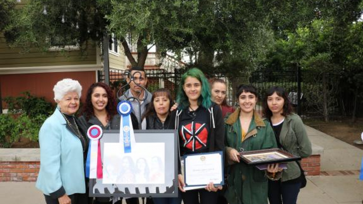 Rep. Napolitano with 1st place winner, Alejandra Quiroz-Garcia, and her friends and family.