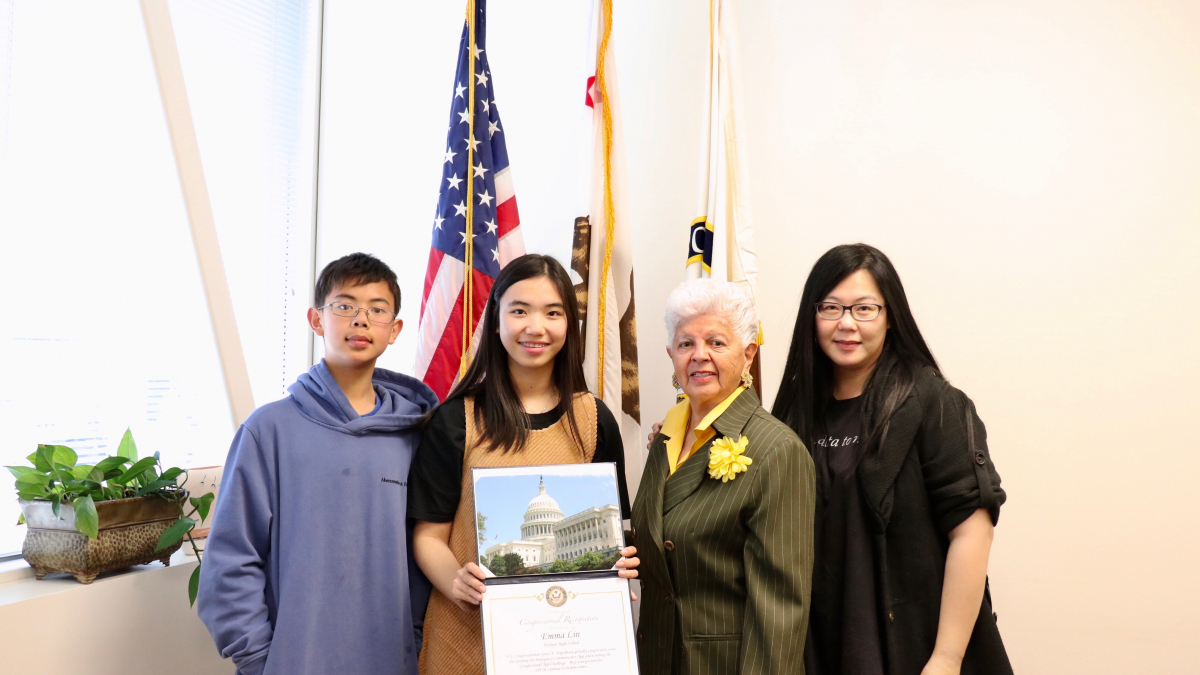 2019 Congressional App Challenge winner Emma Lin (center left) with Rep. Grace Napolitano, her brother, Alex (left), and her mother, Emily (right)