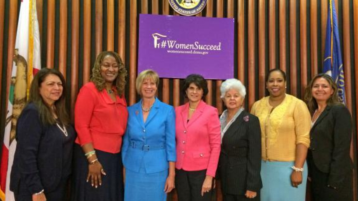 Left to Right: LA City Comm. Coll. Pres., Renee Martinez; CA State Sen Holly Mitchell; Reps. Janice Hahn, Lucille Roybal-Allard, Grace Napolitano; UCLA Asst Dean for Div. Initiatives & Comm. Rltns, Kimberly Freeman; LAANE Exec. Dir., Patricia Castella