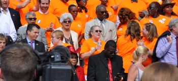 Napolitano joined Democratic colleagues and dozens of gun violence survivors and victims' family members, calling for legislative action to combat gun violence on July 6, 2016