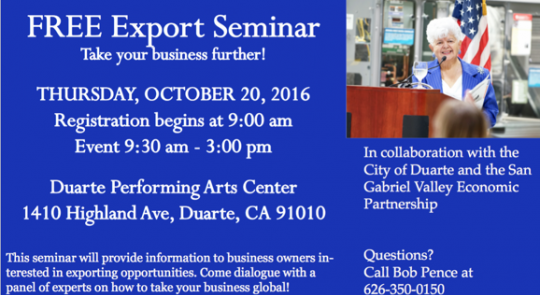 FREE Export Seminar - Thursday, October 20, 2016 feature image