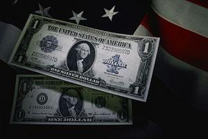 Dollar bills in front of the US flag