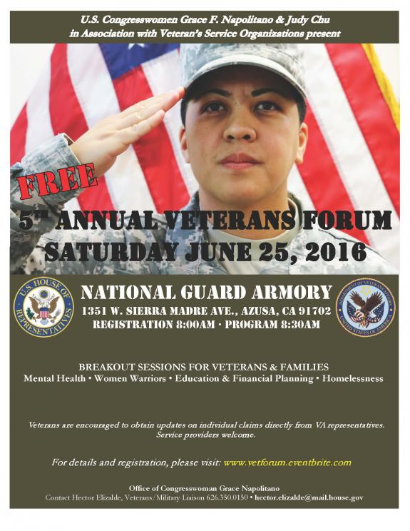 SAVE THE DATE: Reps. Napolitano & Chu to Host 5th Annual Veterans Forum