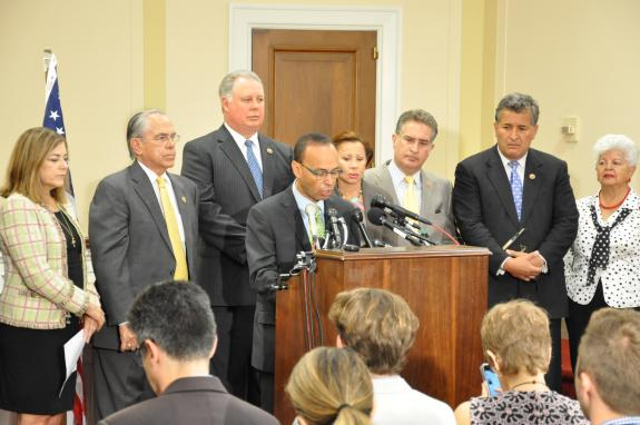 Pictured from Left to Right: Reps. Loretta Sanchez, Ruben Hinojosa, Albio Sires, Luis Gutierrez, Nydia Velazquez, Joe Garcia, Juan Vargas, Grace Napolitano
