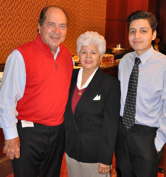 Pictured from Left to Right: Hall of Famer Johnny Bench, Rep. Napolitano, 2012 Sunburst graduate, Humberto Palacios