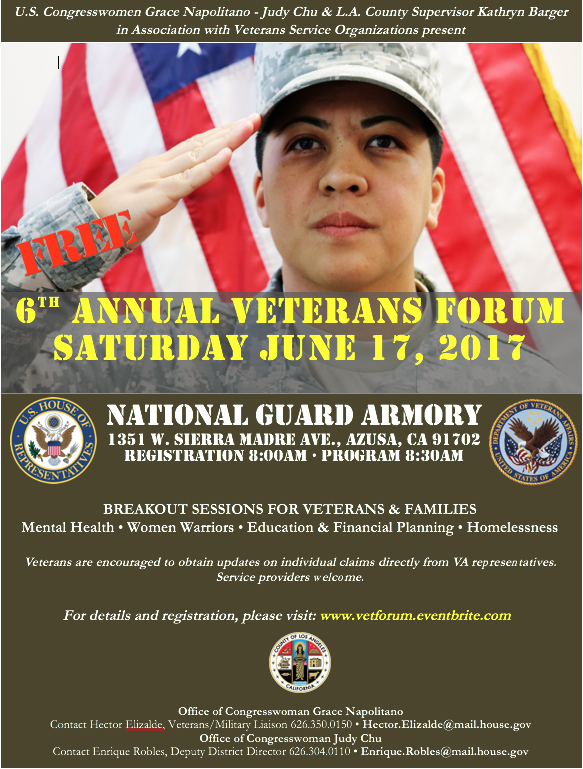 Congresswomen Grace Napolitano & Judy Chu and L.A. County Supervisor Kathryn Barger will host a FREE Veterans Forum at the U.S. Army National Guard Armory, 1351 W. Sierra Madre Ave in Azusa.