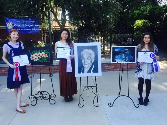 32nd Congressional District 2015 Art Contest Winners, from left to right: Dayna Murri (2nd Place); Sabrina Rodriguez (3rd Place); and Aliss Cordon (1st Place).